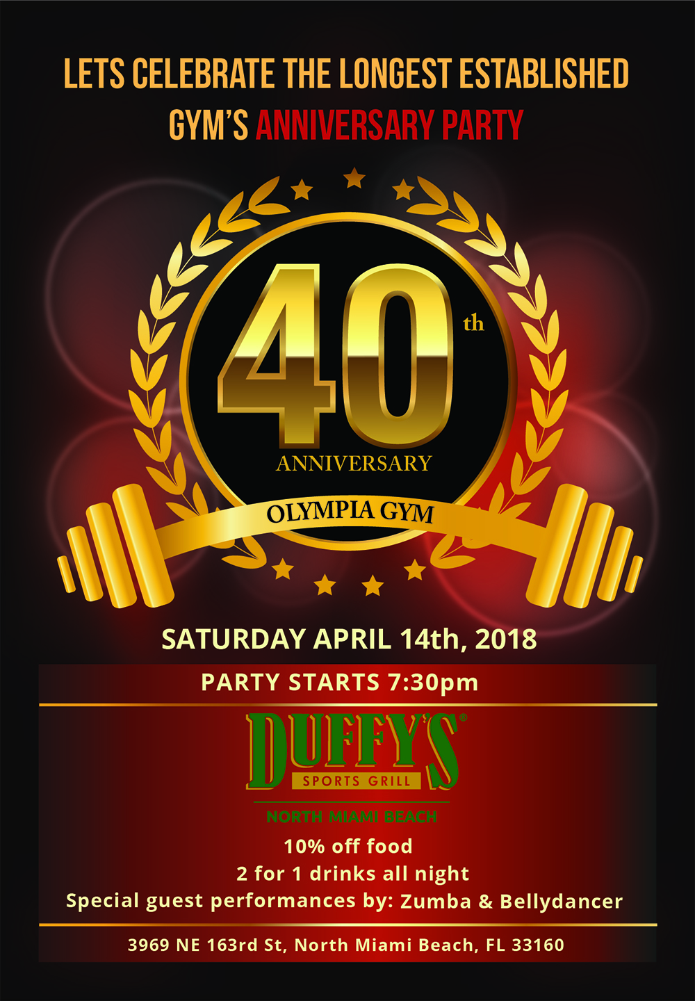Olympia Gym 40th Anniversary Party Flyer