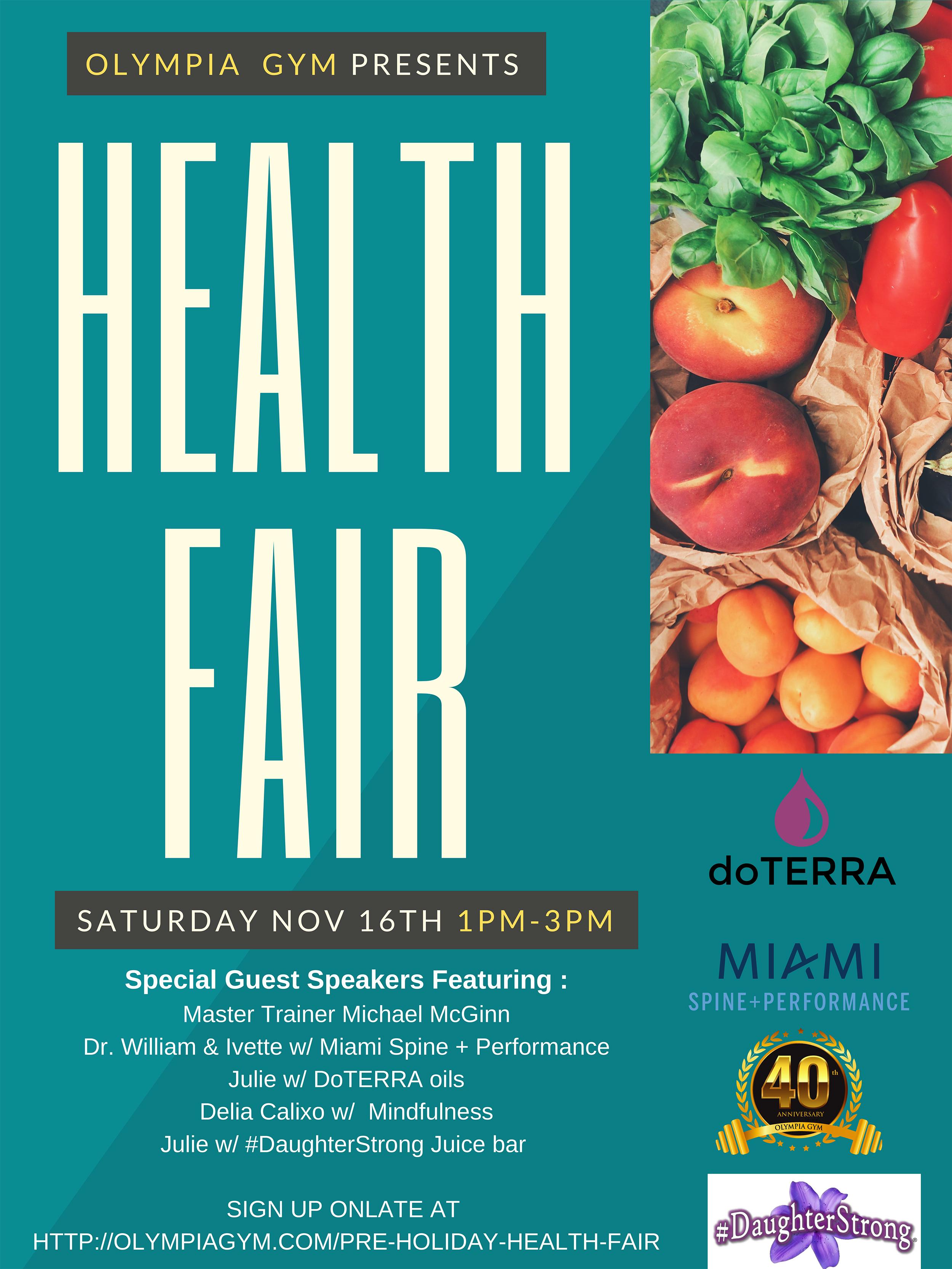 Pre-Holiday Health Fair November 16th, 2019
