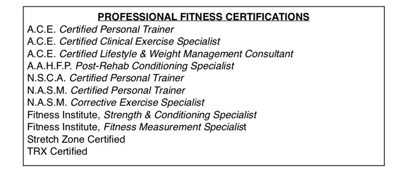 Mike's Personal Training Certifications