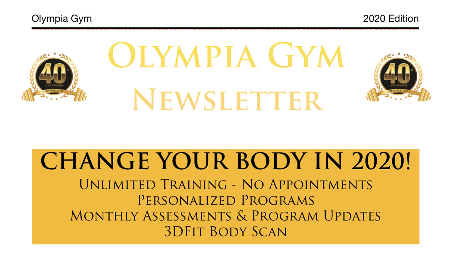 Newsletter - Change Your Body in 2020
