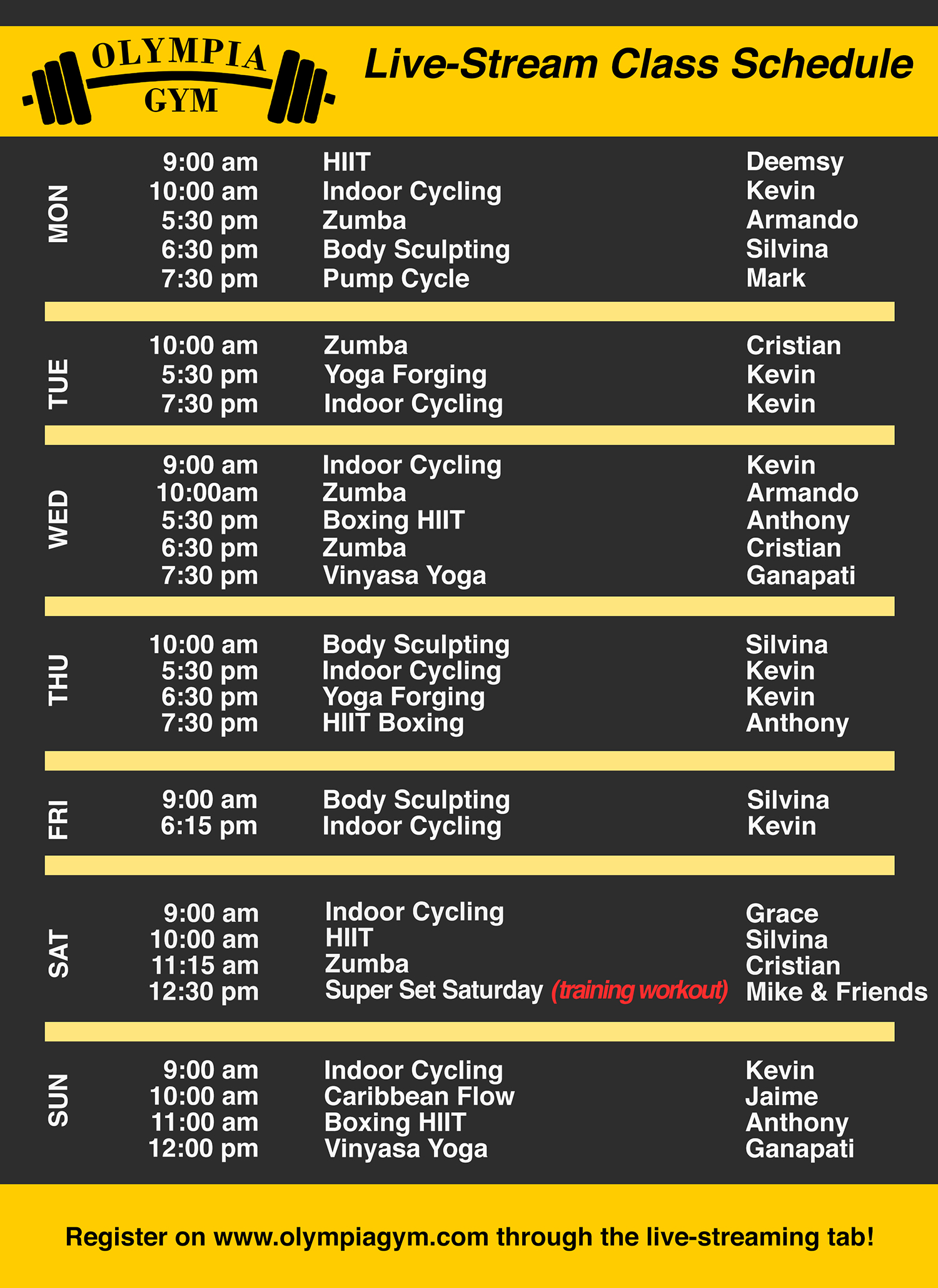 Live-Stream Group Fitness Classes at Olympia Gym & Personal Training Center